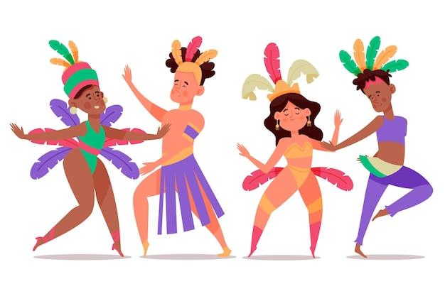 Karnevalstänzer in kostümsammlung