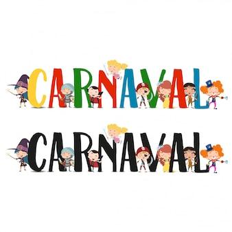 Karnevalstext mit kostümierten charakteren