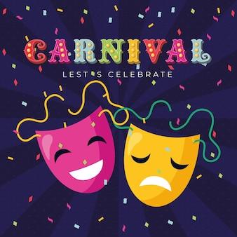 Karnevalstheatermasken mit luftschlangen über dunklem hintergrund