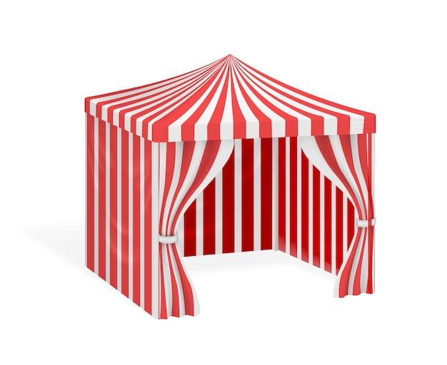 Karnevalszelt für party im freien. gestreiftes festzelt für zirkus.