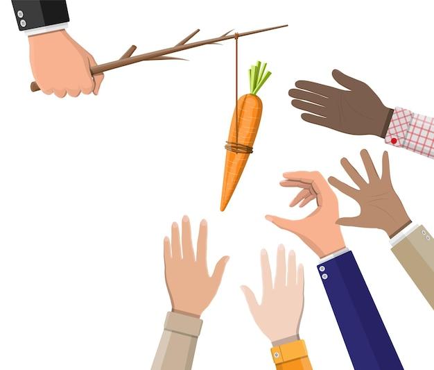 Karotte auf einem stock in der handillustration