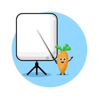 Karotte wird zu einem süßen charakterlogo des lehrers