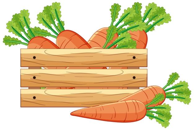 Karotten in einer holzkiste im cartoon-stil isoliert