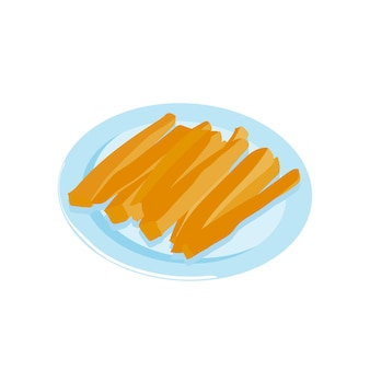 Karotten-karotten-sticks-gemüse-vorspeise auf einem teller gesunde snack-vektor-illustration
