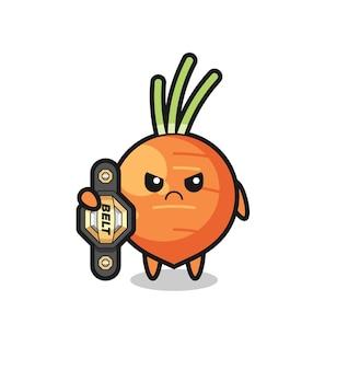 Karotten-maskottchen-charakter als mma-kämpfer mit dem champion-gürtel, süßes design für t-shirt, aufkleber, logo-element