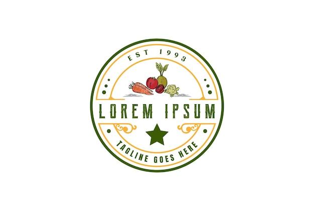Karotten-tomaten-bit-gemüse für garten-bauernhof-abzeichen-emblem-label-logo-design-vektor