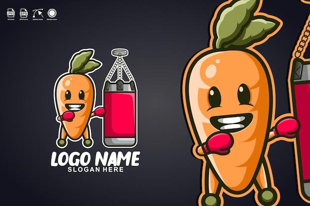 Karottenboxen niedliches maskottchen-charakter-logo-design