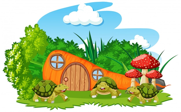 Karottenhaus mit drei schildkrötenkarikaturart auf weißem hintergrund