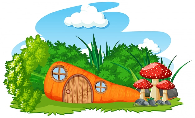 Karottenhaus mit pilzkarikaturart auf himmelhintergrund