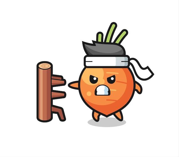 Karottenkarikaturillustration als karatekämpfer, niedliches stildesign für t-shirt, aufkleber, logoelement