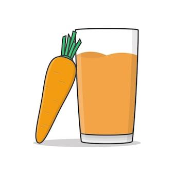 Karottensaft mit karottenillustration. Premium Vektoren