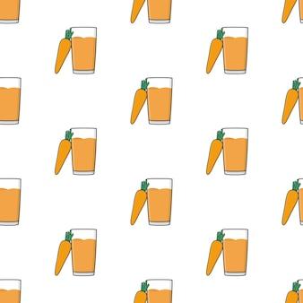 Karottensaft nahtloses muster auf einem weißen hintergrund. karotten-thema-vektor-illustration