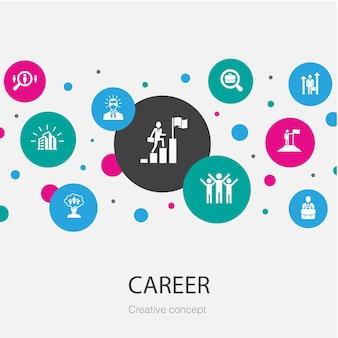 Karriere trendige kreisvorlage mit einfachen symbolen. enthält elemente wie unternehmen, führung, einstellung, jobsuche