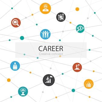 Karriere trendige webvorlage mit einfachen symbolen. enthält elemente wie unternehmen, führung, einstellung, jobsuche