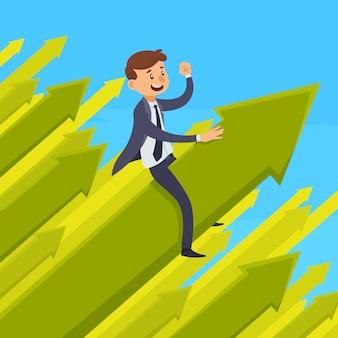 Karriereentwicklungskonzept des entwurfes mit lächelndem geschäftsmann auf grünem wachsendem pfeil auf blauer hintergrundvektorillustration