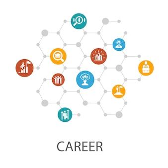 Karrierepräsentationsvorlage, cover-layout und infografiken. symbole für unternehmen, führung, einstellung, jobsuche