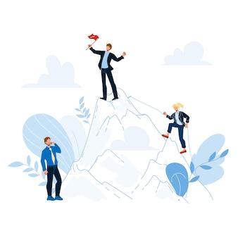 Karrierewachstum vom schreiber zum leiter chief vector. worker manager, kletterfrau und chef auf dem berggipfel mit flagge, karrierewachstumsprozess. charaktere geschäftsleute flache cartoon-illustration