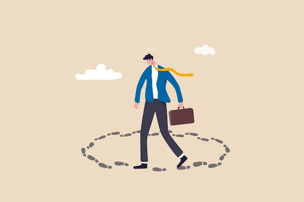 Karriereweg-sackgasse, arbeit an demselben alten, sich wiederholenden job, geschäft wie üblich, keine motivation oder unendliches routine-jobkonzept, frustrierter geschäftsmann geht im kreis ohne ausweg und ohne karriereweg.