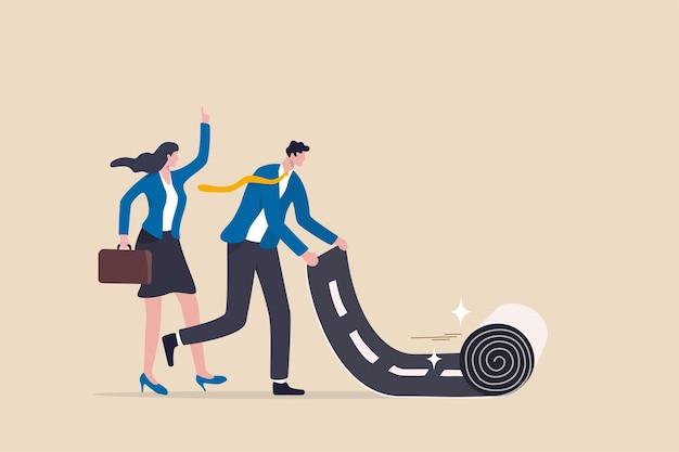 Karriereweg zum erfolg, beginn oder beginn eines neuen jobs oder der karriereentwicklung, führung zur planung des geschäftsrichtungskonzepts, intelligenter geschäftsmann, der den karriereweg-teppich für seinen teamkollegen rollt.