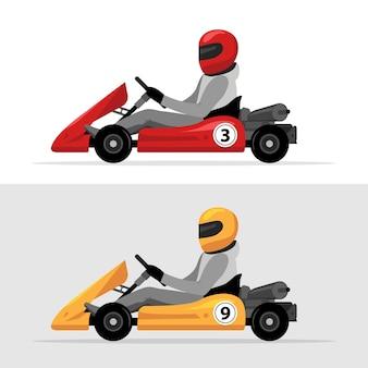 Kart-fahrer-sport-hintergrund. kart-rennen isoliert, man fährt kart im helmhintergrunddesign.