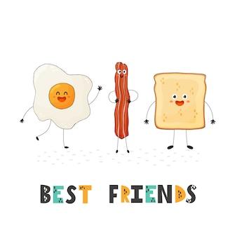 Karte der besten freunde mit netten nahrungsmittelcharakteren - ei, speck und toast