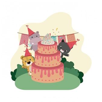 Karte der feier mit tieren