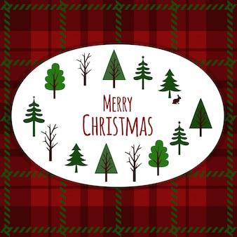Karte der frohen weihnachten auf plaidhintergrund.
