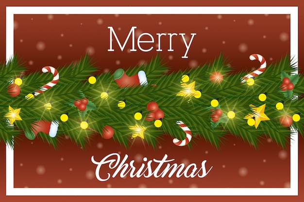 Karte der frohen weihnachten mit blattkranz und -lichtern