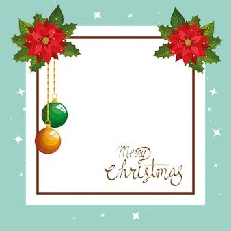 Karte der frohen weihnachten mit blumendekoration und quadratischem rahmen