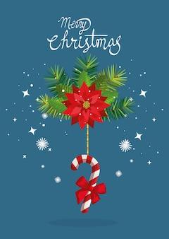 Karte der frohen weihnachten mit dem blumen- und stockhängen