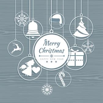 Karte der frohen weihnachten mit elementikonenfahne. winter hintergrund vektor-illustration