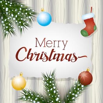 Karte der frohen weihnachten mit girlandenkranz- und -balldekoration