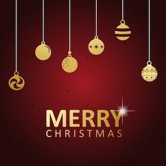 Karte der frohen weihnachten mit hängenden weihnachtsbällen der beschriftungsdekoration. groß für grußkarten, partyplakate, banner. vektor-illustration.