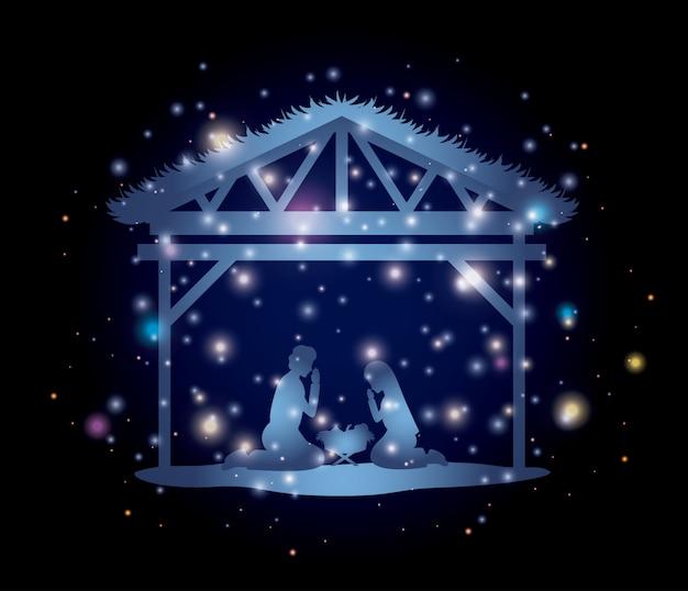 Karte der frohen weihnachten mit heiliger familie im stall