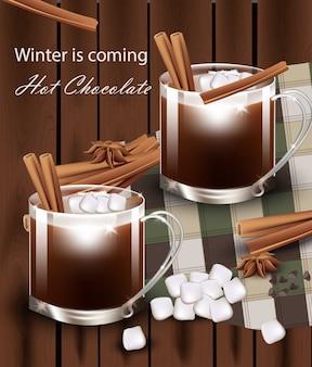 Karte der frohen weihnachten mit heißer schokolade vektor. süßes dessert getränk