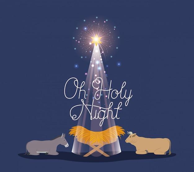 Karte der frohen weihnachten mit jesus-baby und tieren