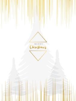 Karte der frohen weihnachten mit tannenbäumen der aquarellbeschaffenheit und goldener geometrischer form