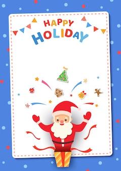 Karte der frohen weihnachten mit weihnachtsmann im präsentkarton für glückliches feiertagsfestival.