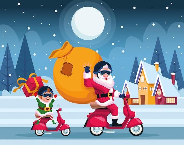 Karte der frohen weihnachten mit weihnachtsmann und elfe im motorradvektor-illustrationsdesign