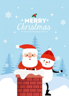 Karte der frohen weihnachten mit weihnachtsmann und schneemann im kamin