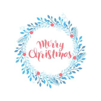 Karte der frohen weihnachten und des guten rutsch ins neue jahr, feiertagsrahmen mit blättern und niederlassungen.
