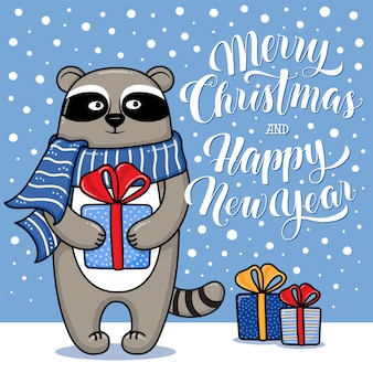 Karte der frohen weihnachten und des guten rutsch ins neue jahr mit dem netten lustigen waschbären, der ein geschenk hält