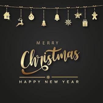 Karte der frohen weihnachten und des guten rutsch ins neue jahr mit hängenden goldenen weihnachtsverzierungen. vektor
