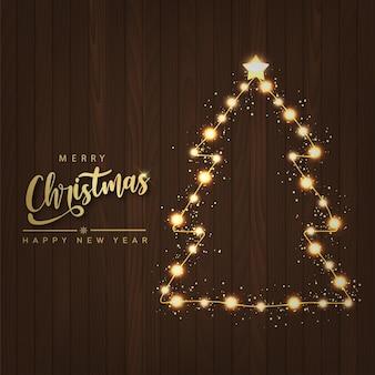Karte der frohen weihnachten und des guten rutsch ins neue jahr mit magischem weihnachtsbaumlicht des funkelns. vektor