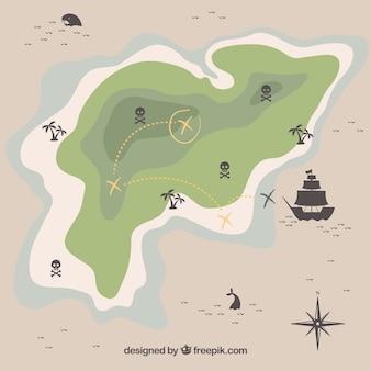 Karte der insel mit piratenschatz