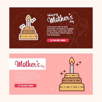 Karte der mutter tagesmit kuchenlogo und rosa themavektor