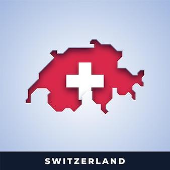 Karte der schweiz mit flagge