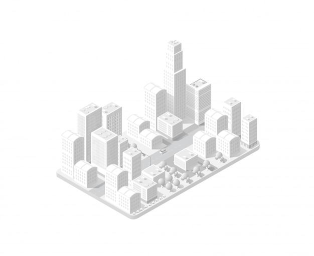 Karte der stadt auf weißem design