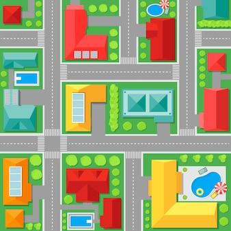 Karte der stadt draufsicht architekturplan der stadt.