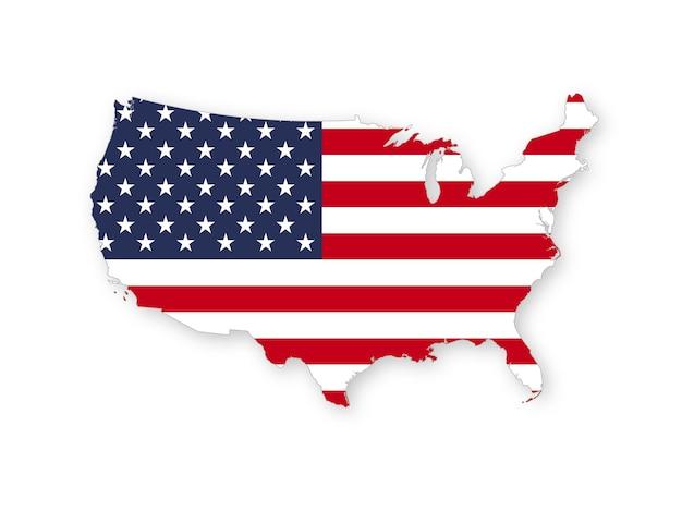 Karte der usa mit der nationalflagge der vereinigten staaten von amerika isoliert auf weißem hintergrund